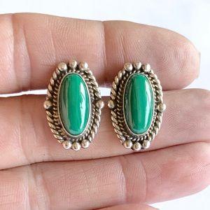 Navajo Sterling Silver Malachite Stud Earrings
